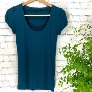 H&M Teal Shirt with Detailed Neckline